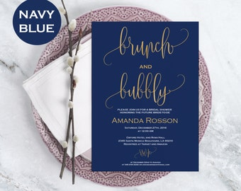 Brunch & Bubbly Bridal Shower Template - Printable Bridal shower Invitation - Downloadable wedding invitations  #WDH0099