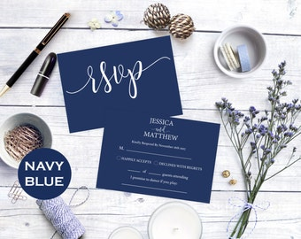 RSVP cards wedding - rsvp Card - Printable Response - Navy blue rsvp - Navy blue wedding - rsvp online  - Downloadable wedding #WDH0129