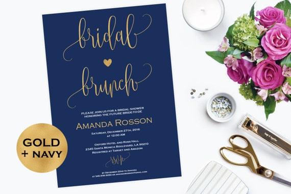 Navy Blue and Gold Bridal Brunch Invitation - Printable Bridal Shower Invite - Bridal and Brunch - Printable Bridal Wedding Shower #WDH0102