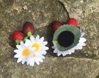 Flower attachment for the headbands - Margaret + strawberries