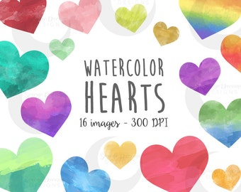 Watercolor Hearts Clipart Set - Commercial License
