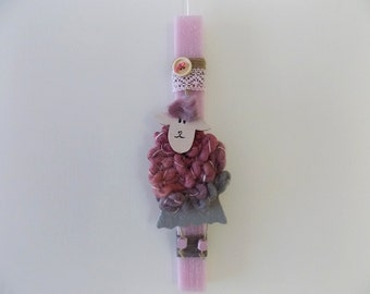 Girls easter candle etsy easter candle sheep godchild gift greek easter lampada rose scented candle negle Gallery