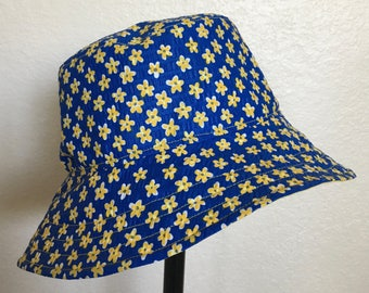 Sunny Summer Blue and Yellow Flower Bucket Style Sun Hat for Babies and Kids!