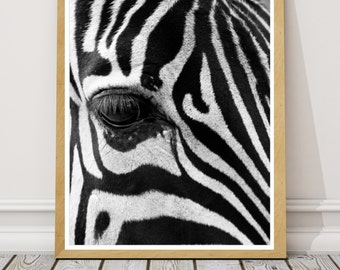 PRINTABLE PRINT ZEBRA Instant Download Black and White Print, Animal Art, Zebra Print, Safari Nursery Art, African Animal, Contemporary Art