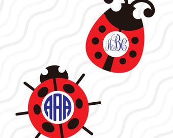 Lady Bug SVG, Lady Bug Monogram SVG Cut table Design,svg,dxf,png Use With Silhouette Studio & Cricut_Instant Download