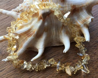 Citrine Seichem/Reiki Energy Charged Chip Bead Bracelet (Healing)