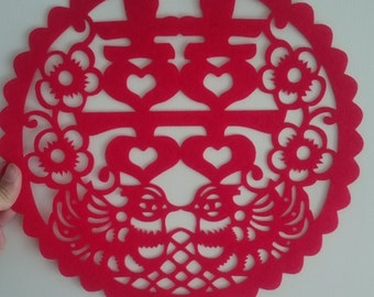 Double Happiness Sticker Decoration, Chinese Wedding, Stiffen felt for 2