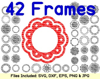 Circle Monogram Frames Svg, Svg Dxf Eps Png Cut Files for Cricut & Silhouette, Shirt Mug Yeti Vector Files, Digital Design Instant Download