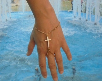 Golden slave bracelet with white cross- ethnic jewelry- boho style- jewelry with cross