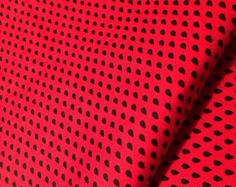 Little Seeds Fabric Small Black Drops on Red by Timeless Treasures Pattern C8387 Designer Fabric-100%  Quality Cotton By 1/2 YD