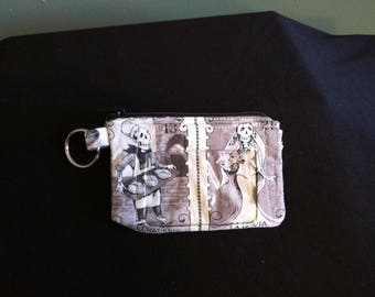 ID Coin Purse with Key ring made with Day of the Dead fabric