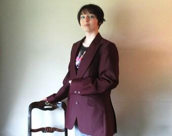 Vintage Mens Suit Jacket, Burgundy Blazer, Zampieri di Roma Wine Sport Coat, Dapper Menswear, Maroon Jacket, Size 40