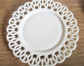 Vintage Westmoreland Glass Luncheon Plate, Wicker Edge, Lace Edge Milk Glass Salad Plate, Milk Glass Dinner Plate, White Glass Plate