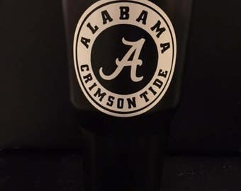 Alabama Crimson Tide white circle football logo on black Ozark Trail tumbler NEW