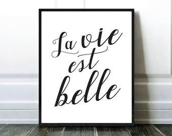 La vie est belle, Affiche Citation, Affiche Francais, Quote Print, Typography Print, Affiche Noir et Blanc, Affiche Typographie
