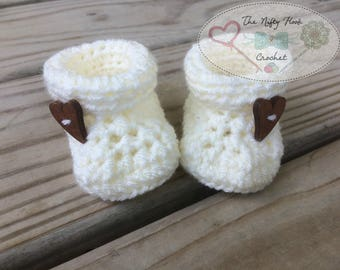 Neutral Cuff Baby Booties