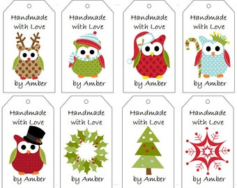 Christmas Owl Gift Tags- PDF File