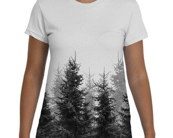 Forest, Womens Tshirt, Black and White, Girls Tee, Trees, Womens Clothing