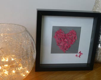 Handcrafted Butterfly Heart Framed Wall Art