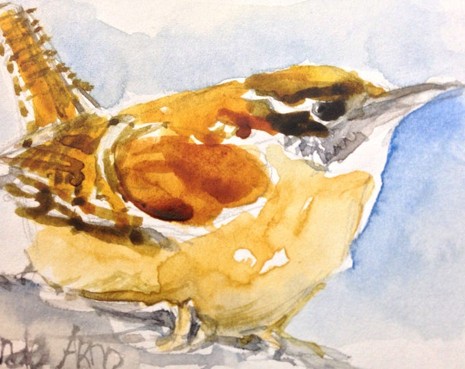 Watercolor Wren Original Painting, ACEO sized 2.5 x 3.5 inches, Collectable Wren Artwork, Small Watercolor Wren,