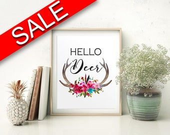 Wall Art Hello Deer Digital Print Hello Deer Poster Art Hello Deer Wall Art Print Hello Deer Home Art Hello Deer Home Print Hello Deer Wall