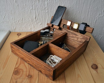 Ready to ship Desk organizer Wood organizer Rustic Box with charging station watch box valet box iphone box Reclaimed Wood Organizer