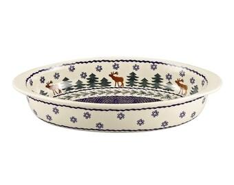 Jankiewicz Bolesławiec Genuine Polish Pottery Oval Pottery Baker Reindeer Moose