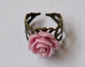 filigree, pink rose ring