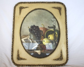 Vintage VICTORIAN GESSO Style Frame with Fruit Setting Picture - 22 inches wide X 26 inches high