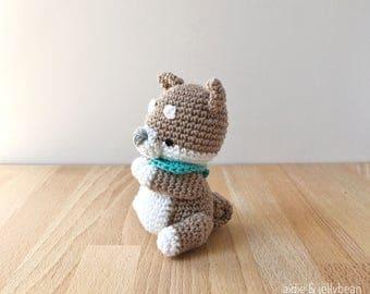 SHIBA INU PUPPY with bandana, Crochet amigurumi dog, dog lover gift, shiba inu gift, birthday gift, Mother's Day gift, gift men, gift women