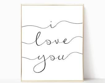 I love you print, home decor, printable, wall art, wall decor, nursery decor, wedding decor, nursery art, digital print, I love you sign