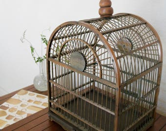 Vintage Antique Wood and Bamboo Birdcage