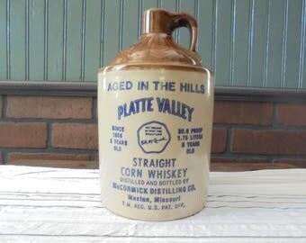 Vintage Whiskey Jug Americana Stoneware