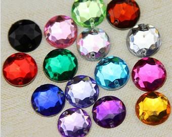 100PCs Acrylic Rhinestone Beads, Non Hotfix 6mm 8mm 10mm 12mm 14mm 5 Size For Choice Mix Colors Sewing On Acrylic Rhinestones