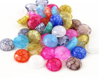 40pcs 12mm Mix Colors Flat back Resin Cabochons Cameo