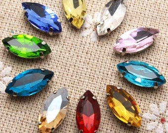 50pcs 7*15mm Crystal Colorful Navette Sew On Rhinestone With Claw Setting mix color
