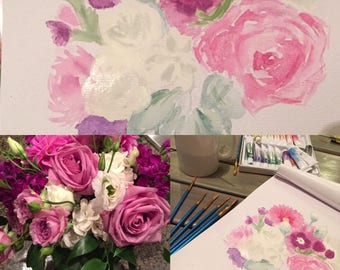 Custom Wedding Bouquet Watercolor