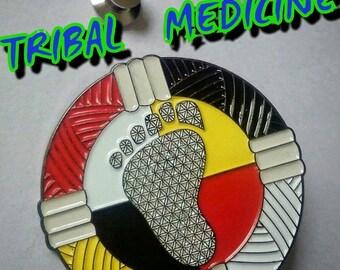 Tribal Medicine hat pin w/locking backs & matching sticker