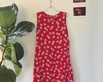 Red Floral Mini Dress Women's size medium/large