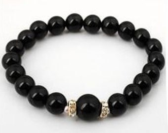 8mm Black Agate Natural Stone Stretch Bracelet with 10mm Black Agate Stone
