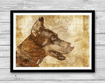 Doberman print, Archival art print with style of old geographic maps, Doberman Art Print, Vintage decor, Doberman Wall Art, Dog Lovers gift