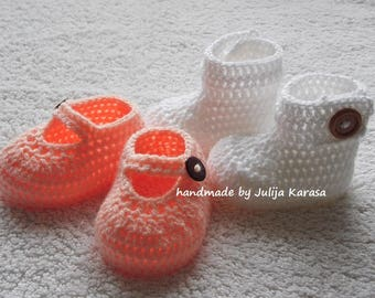 Crochet baby shoes and booties, two pair set, handmade baby girl booties and shoes, baby shower gift, baby girl booties, baby girl shoes