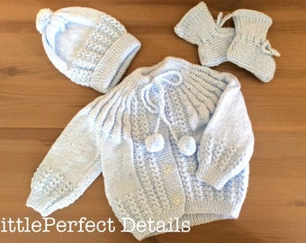 Baby Blue Cardigan, Hat and Booties Set, Knitted Baby Clothes Set