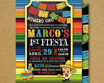 Papel Picado Paper Flags Fiesta 1st Birthday Invitation, Mexican Fiesta Invitations, Little Muchacho Fiesta 1st Birthday Invites, DI-3007