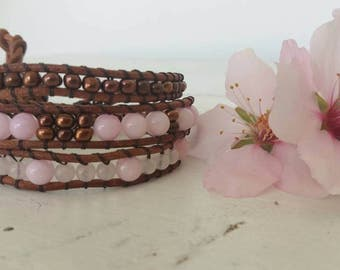 Three-pass with lanyard bracelet leather and gemstone jewelry