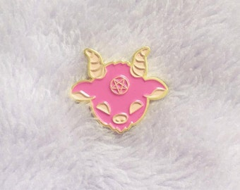 Kawaii Satan Enamel Pin, Cute Pink Lucifer Lapel Pin