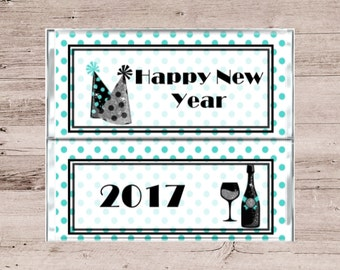 Teal and White Polka Dot Happy New Year Chocolate Wrappers-Teal and White Candy Bar Wrappers-Chocolate Bar New Years Favors-Candy Bar Favors
