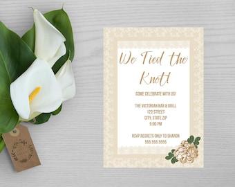 Tan Wedding Announcement-Cream Wedding Announcement-Elopement Announcement-Reception Invitation-Wedding Reception Invitation-Tied The Knot
