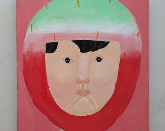 original painting acrylic painting art wall art interior cute pink popart for daughter