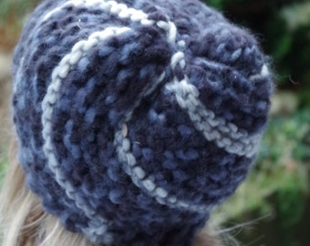 Grey Merino hat Cross crocheted